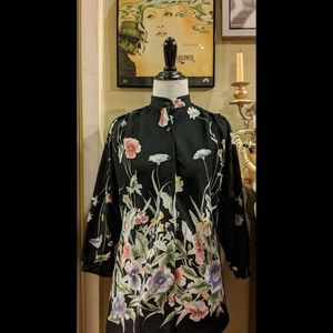 Vintage 70s floral Chinese style blouse top